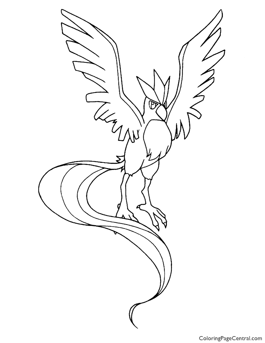Pokemon – Articuno Coloring Page 01 | Coloring Page Central