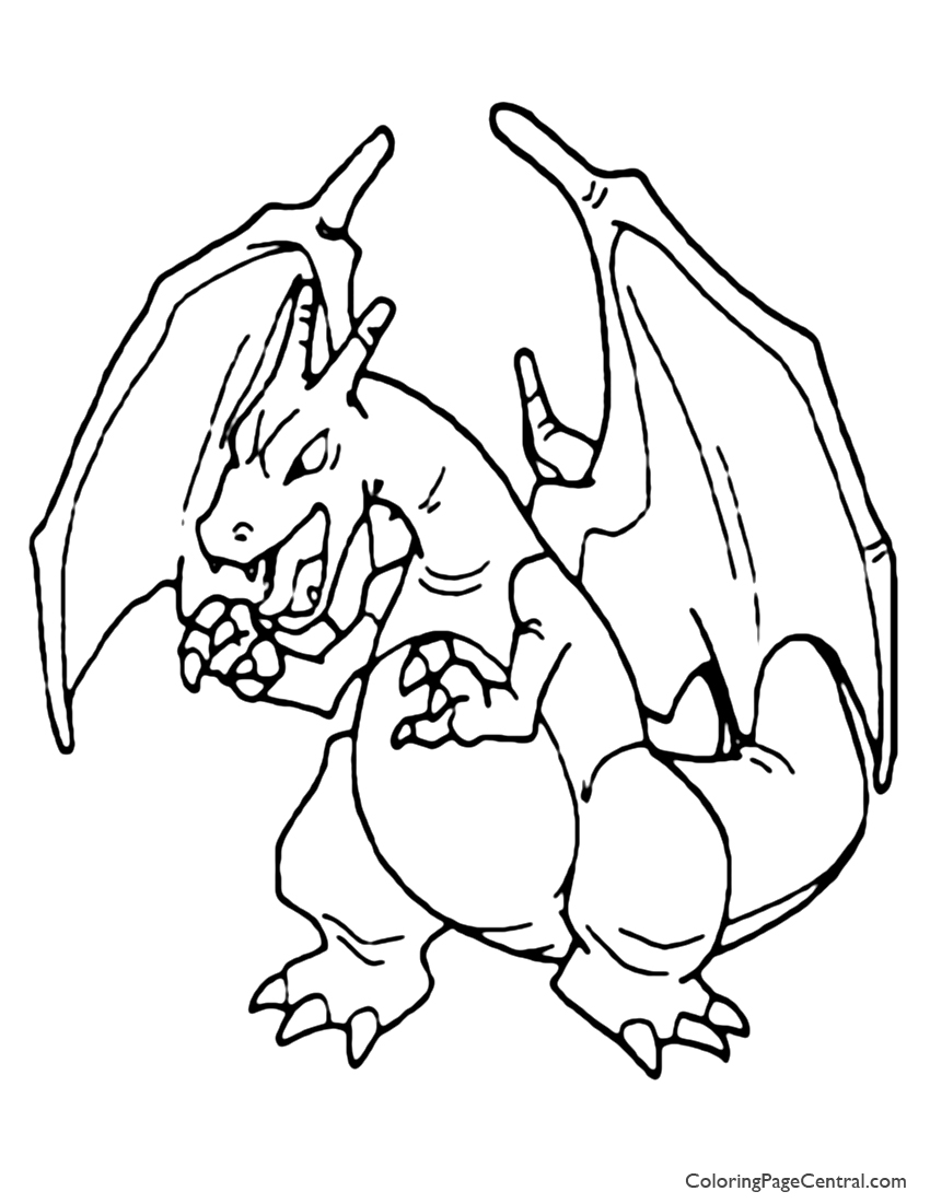 Pokemon – Charizard Coloring Page 01 | Coloring Page Central