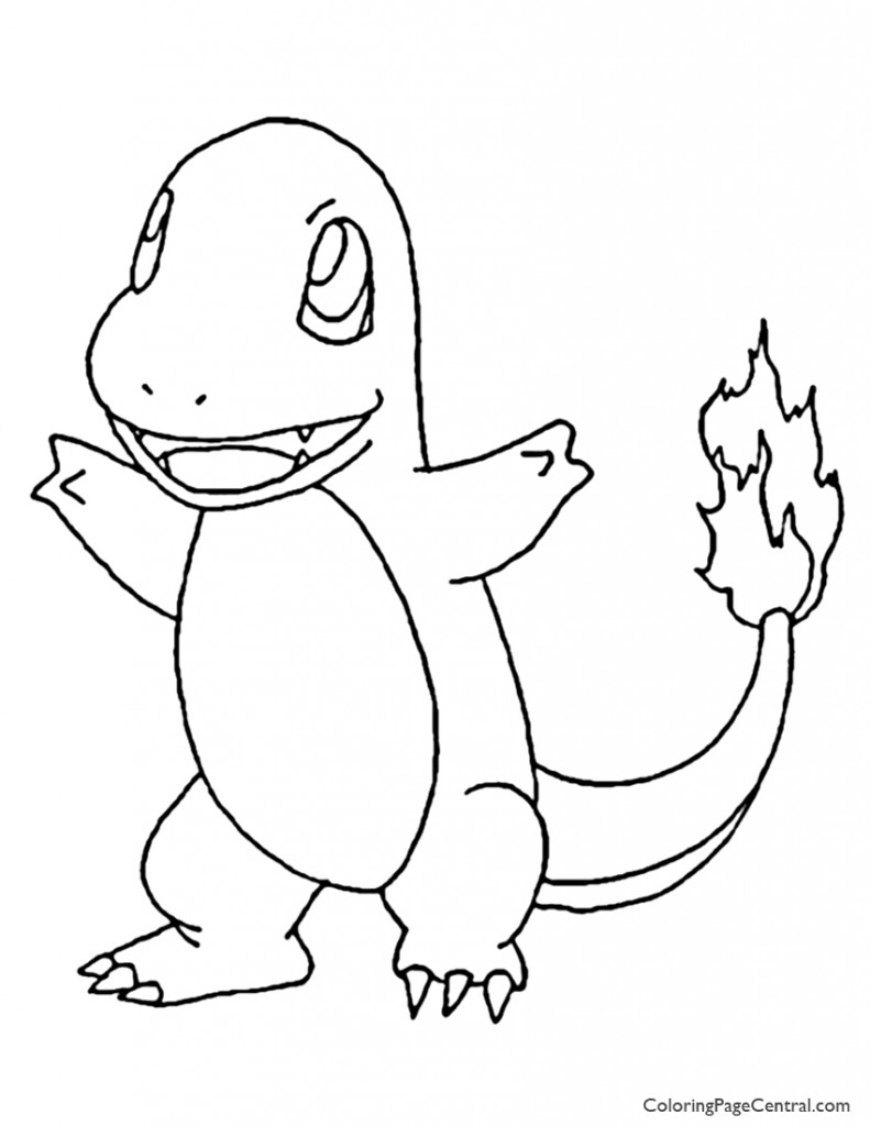 Pokemon - Charmander Coloring Page 01 | Coloring Page Central