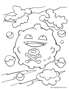 Pokemon – Koffing Coloring Page 01