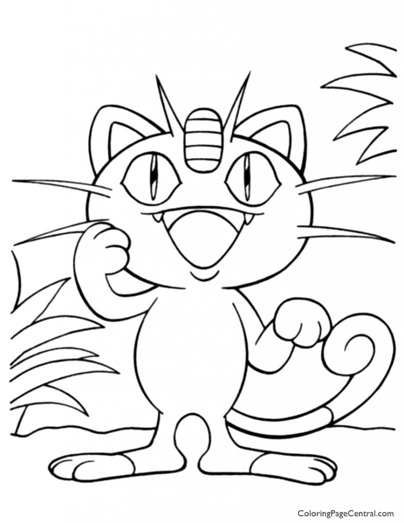 Pokemon - Meowth Coloring Page 01