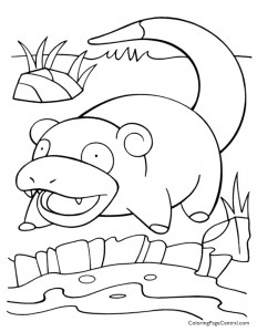 Pokemon – Slowpoke Coloring Page 01