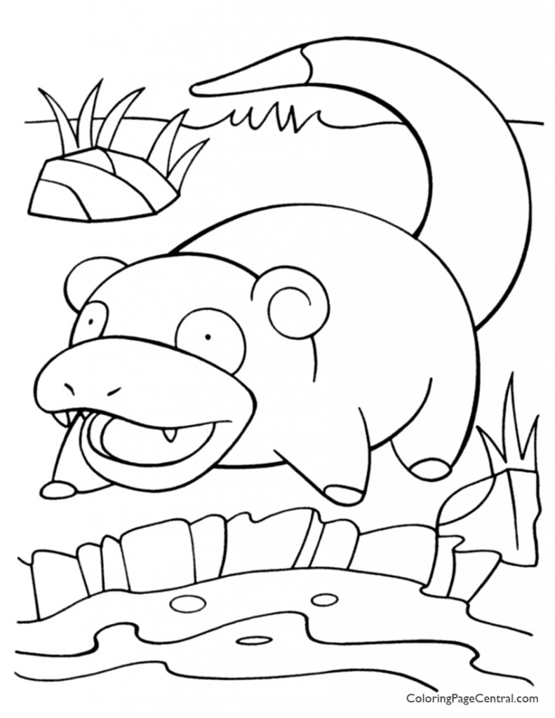Pokemon - Slowpoke Coloring Page 01