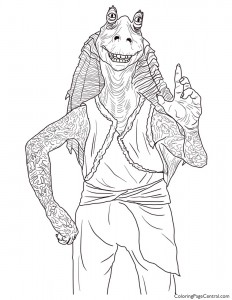 Star Wars – Jar Jar Binks Coloring Page