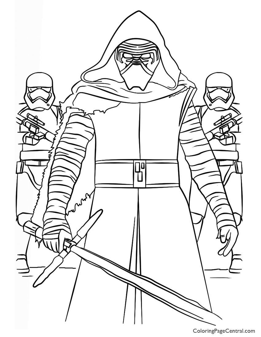 Star Wars – Kylo Ren and First Order Coloring Page | Coloring Page ...