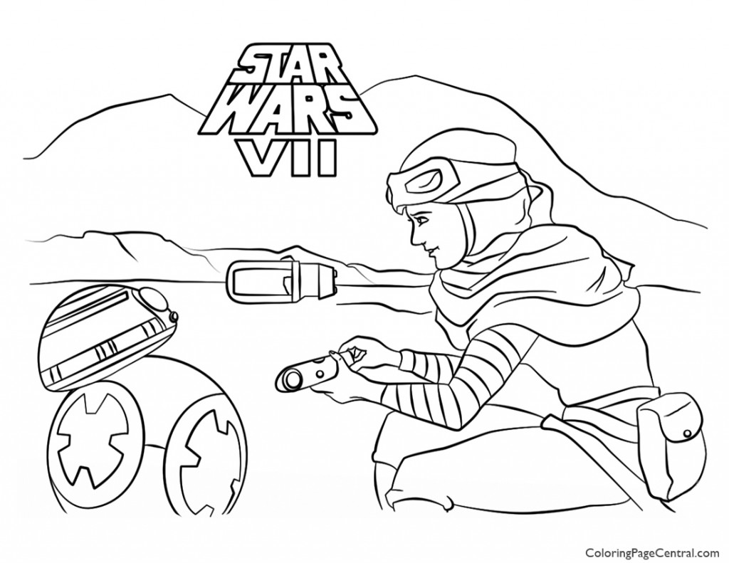 Star Wars Rey And Bb 8 Coloring Page Coloring Page Central