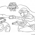 Star Wars - Rey and BB-8 Coloring Page