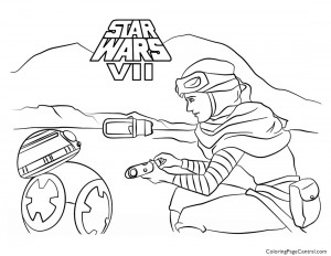 Star Wars – Rey and BB-8 Coloring Page