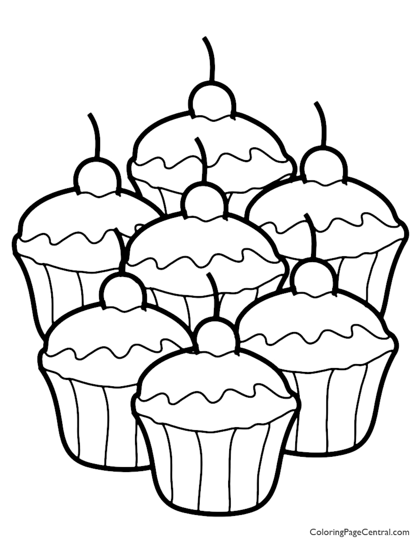 Cupcake 02 Coloring Page | Coloring Page Central