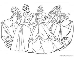 Disney Princesses 01 Coloring Page