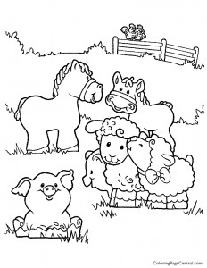 Farm Animals 01 Coloring Page