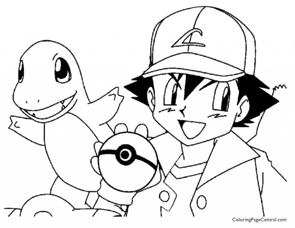Pokemon – Ash Coloring Page 01 | Coloring Page Central