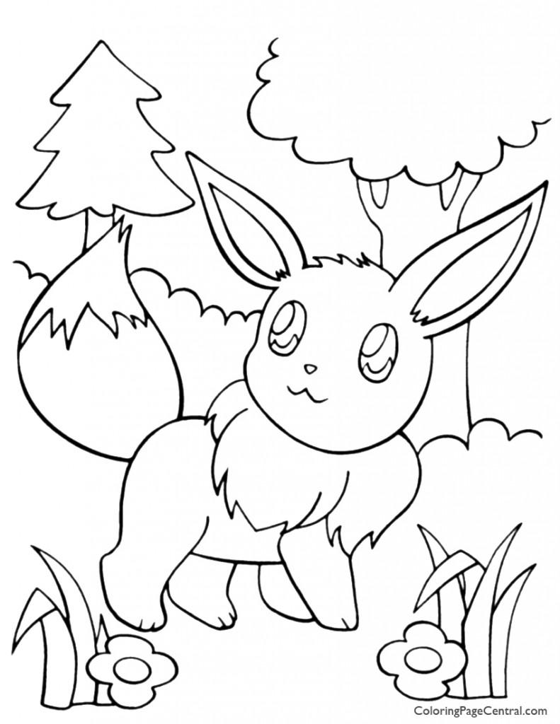 Pokemon - Eevee Coloring Page 01
