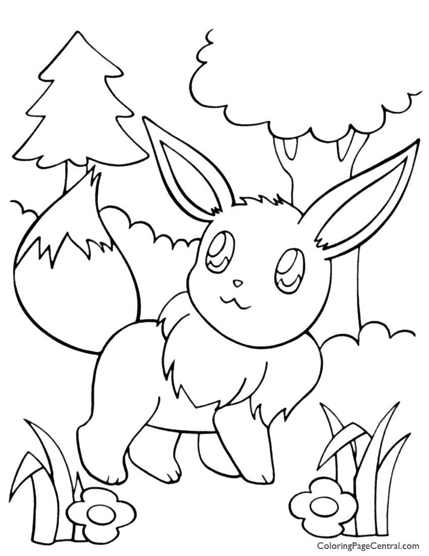 Pokemon - Eevee Coloring Page 01 | Coloring Page Central