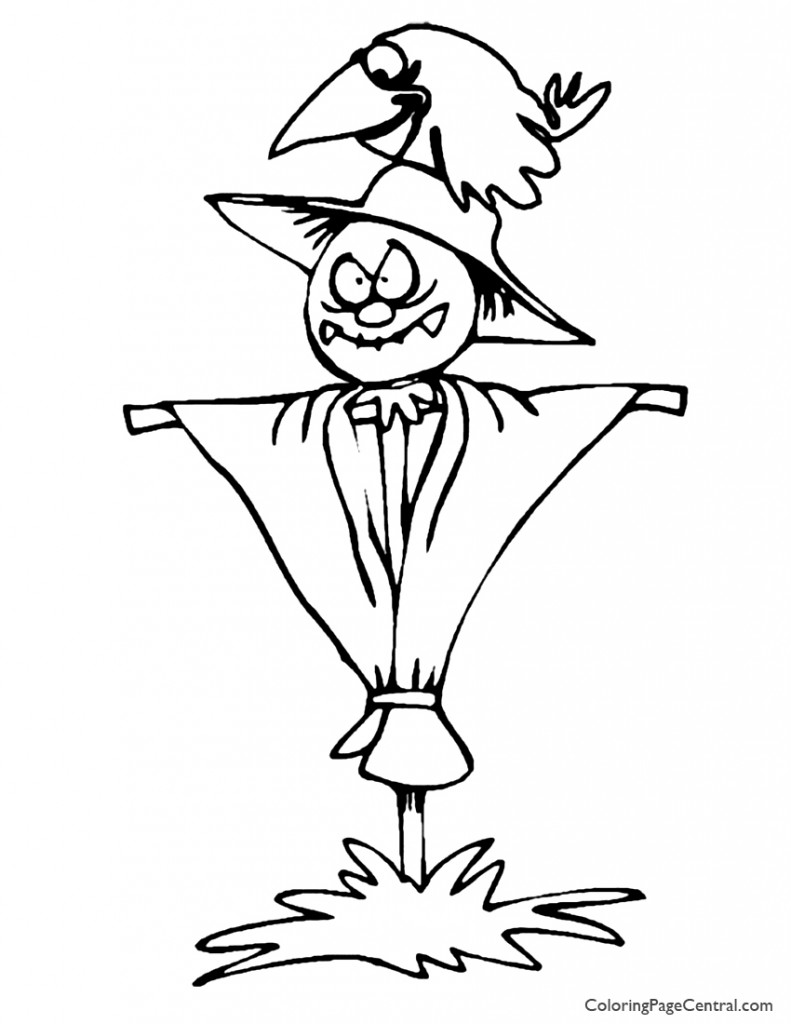 Scarecrow 01 Coloring Page