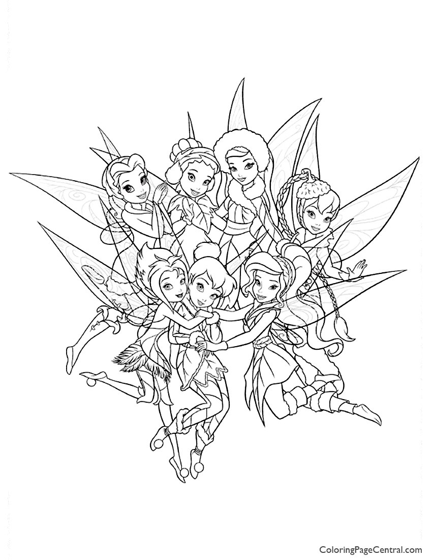 Tinkerbell and Friends 01 Coloring Page | Coloring Page Central