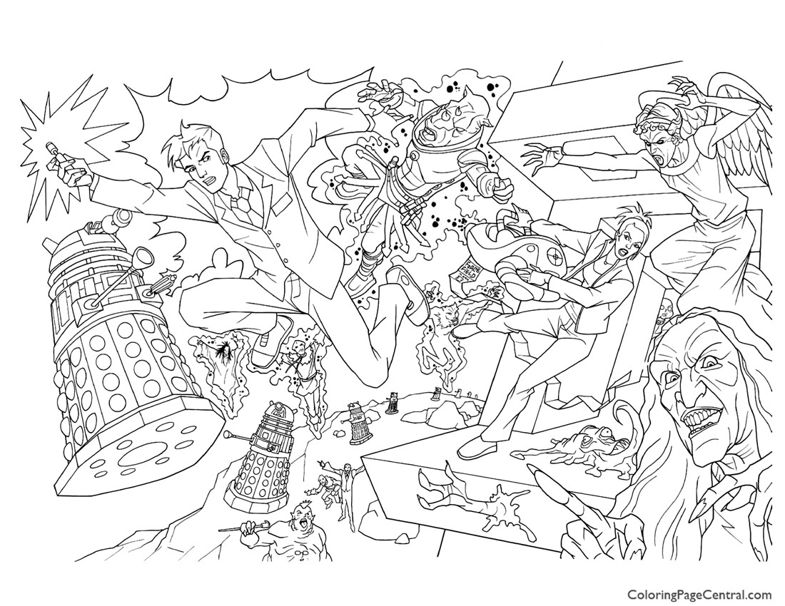 Doctor Who 01 Coloring Page Coloring Page Central