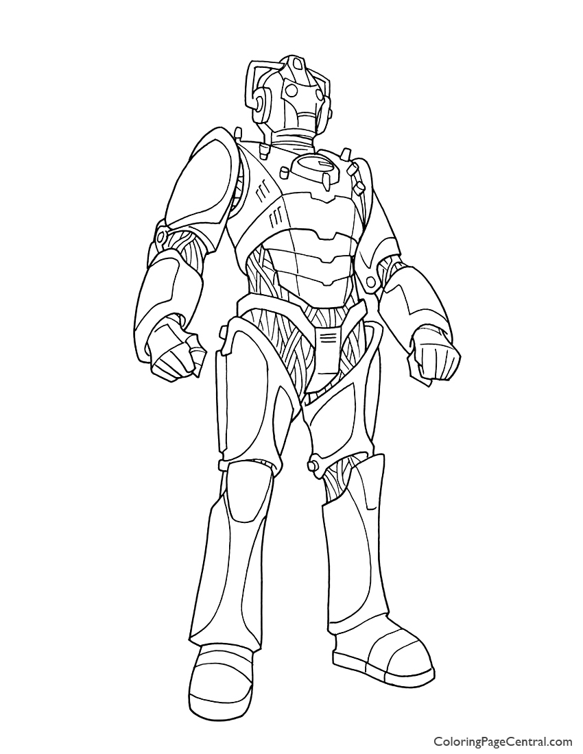 Doctor Who Cyberman Coloring Page Coloring Page Central