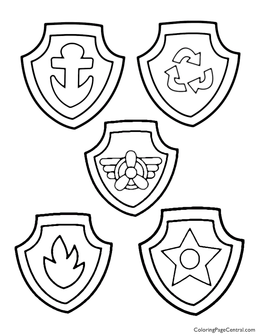 Paw Patrol Badges Coloring Page Coloring Page Central