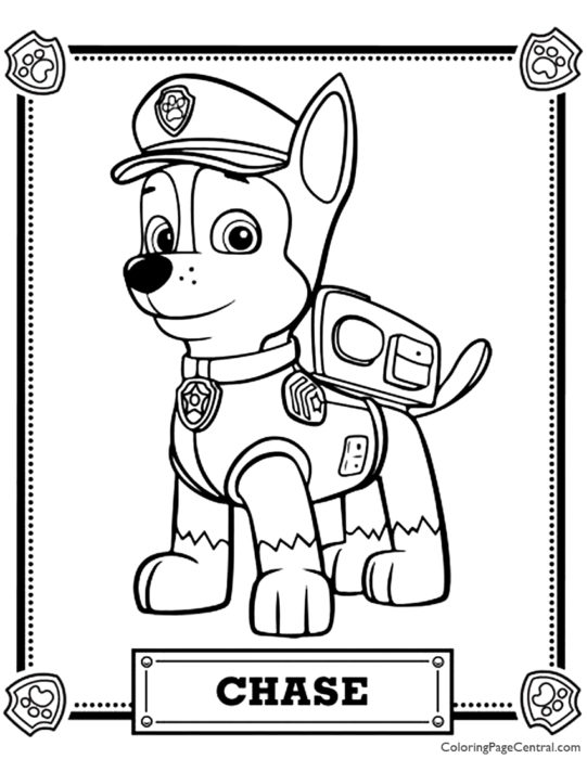 Paw Patrol - Chase Coloring Page