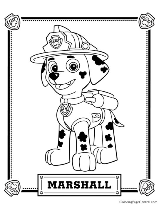 Paw Patrol – Marshall Coloring Page