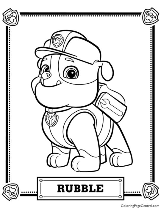Paw Patrol – Rubble Coloring Page