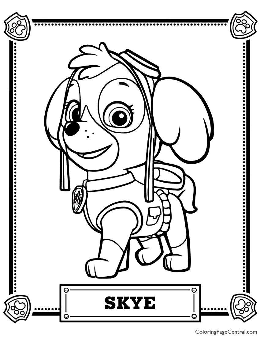 Paw Patrol - Skye Coloring Page | Coloring Page Central