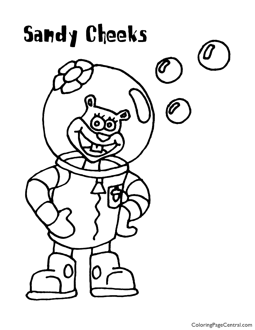 Spongebob – Sandy Cheeks Coloring Page | Coloring Page Central