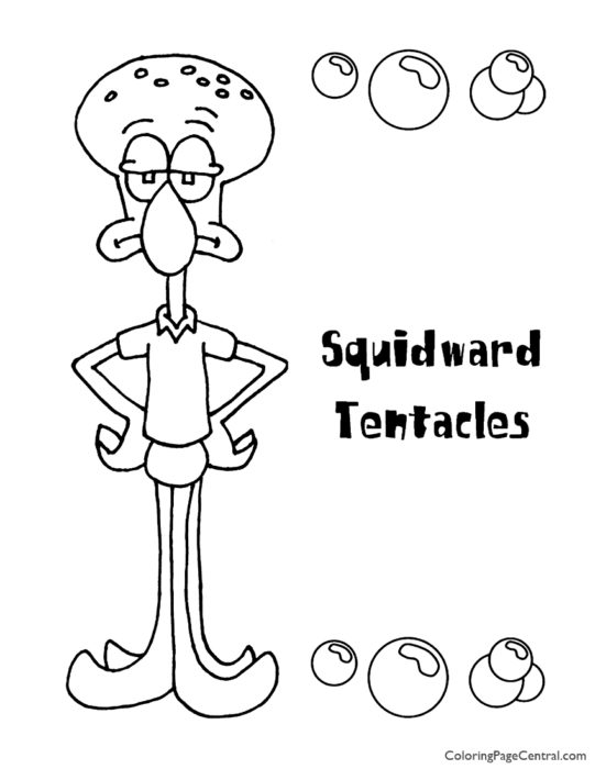 Spongebob – Squidward Coloring Page 02