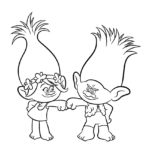 Trolls - Branch and Poppy Coloring Page 01