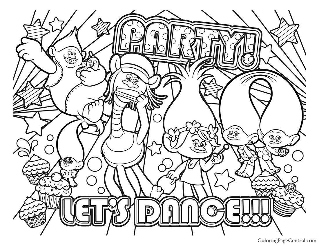 Trolls Coloring Page 01 Coloring Page Central