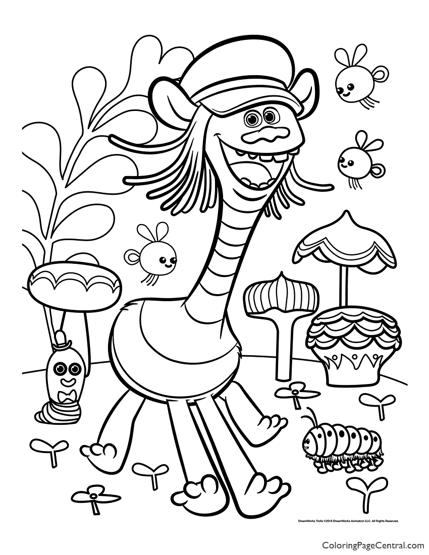 Trolls - Cooper Coloring Page 02