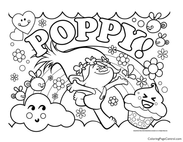 Trolls – Poppy Coloring Page 06