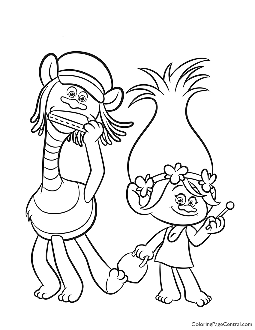 Trolls - Poppy and Cooper Coloring Page