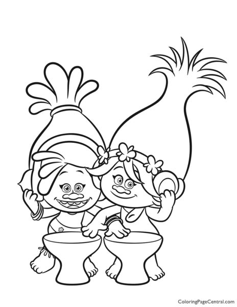 Trolls - Poppy and DJ Suki Coloring Page