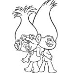 Trolls - Poppy and Guy Diamond Coloring Page