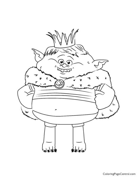 Trolls - Prince Gristle Coloring Page