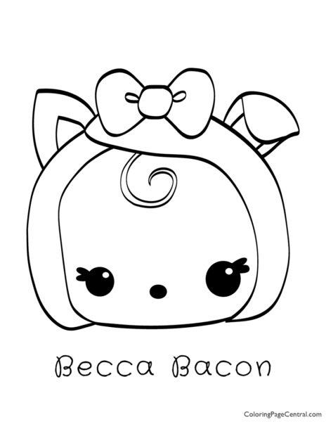 Num Noms - Becca Bacon Coloring Page