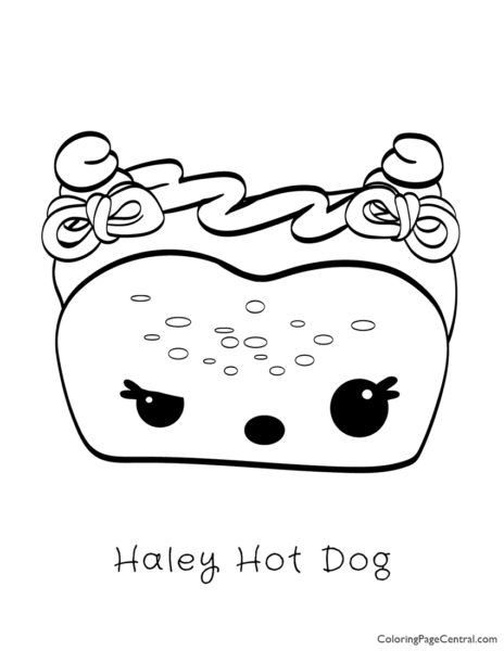 Num Noms – Haley Hot Dog Coloring Page