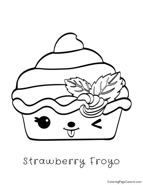 Num Noms - Strawberry Froyo Coloring Page