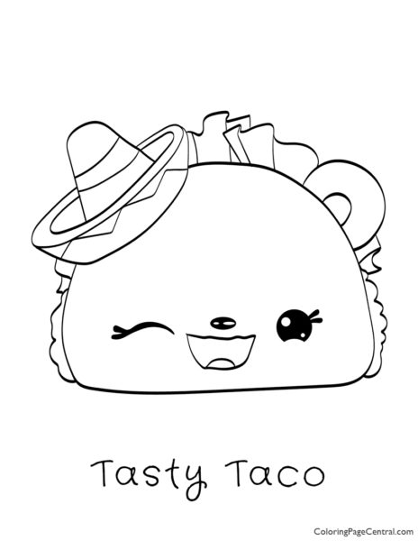 Num Noms – Tasty Taco Coloring Page