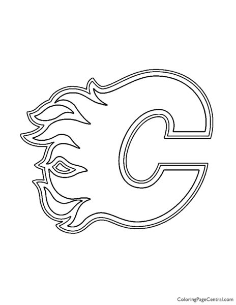 NHL – Calgary Flames Logo Stencil Coloring Page