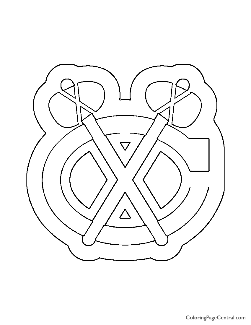 Nhl Chicago Blackhawks Logo Stencil Coloring Page Coloring Page Central