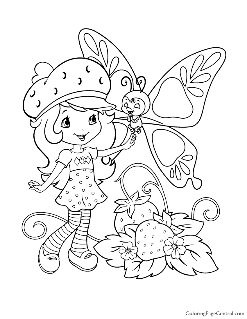 Strawberry Shortcake and Butterfly Coloring Page