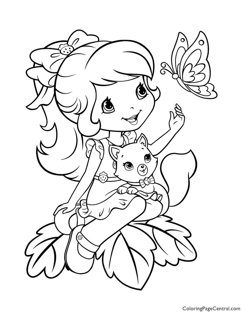 Strawberry Shortcake and Custard Coloring Page