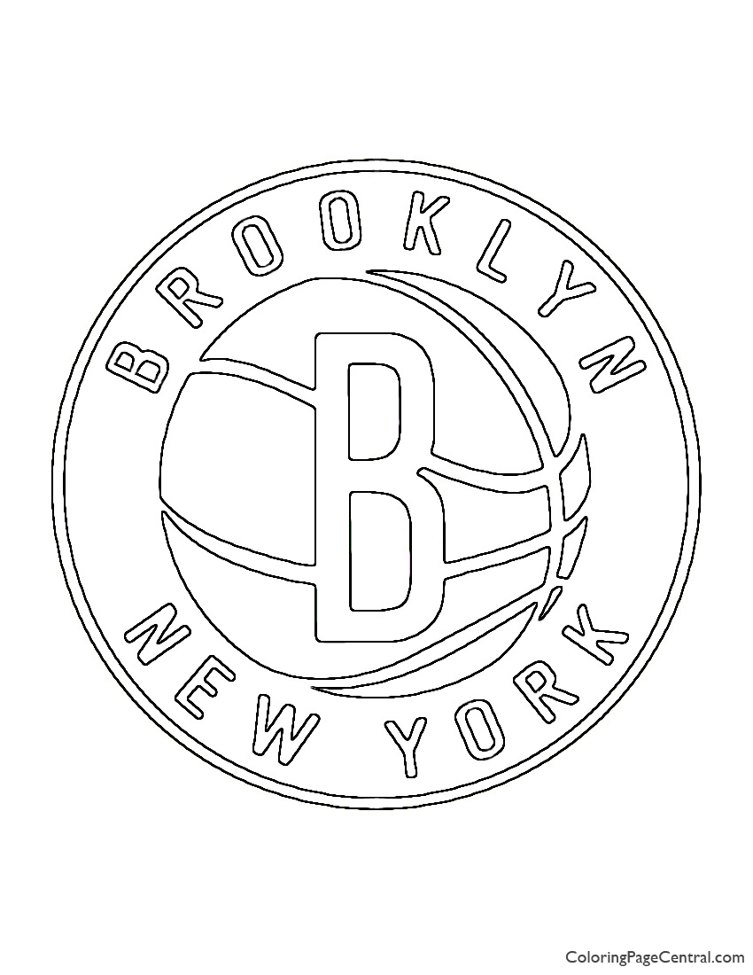 Nba Brooklyn Nets Logo 02 Coloring Page Coloring Page Central