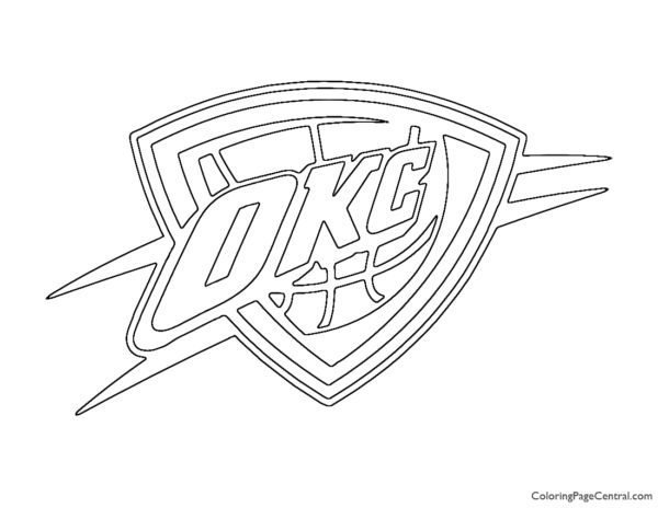 NBA Oklahoma City Thunder Logo Coloring Page