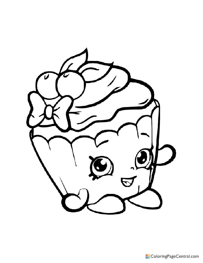 Shopkin - Cherry Nice Cupcake Coloring Page