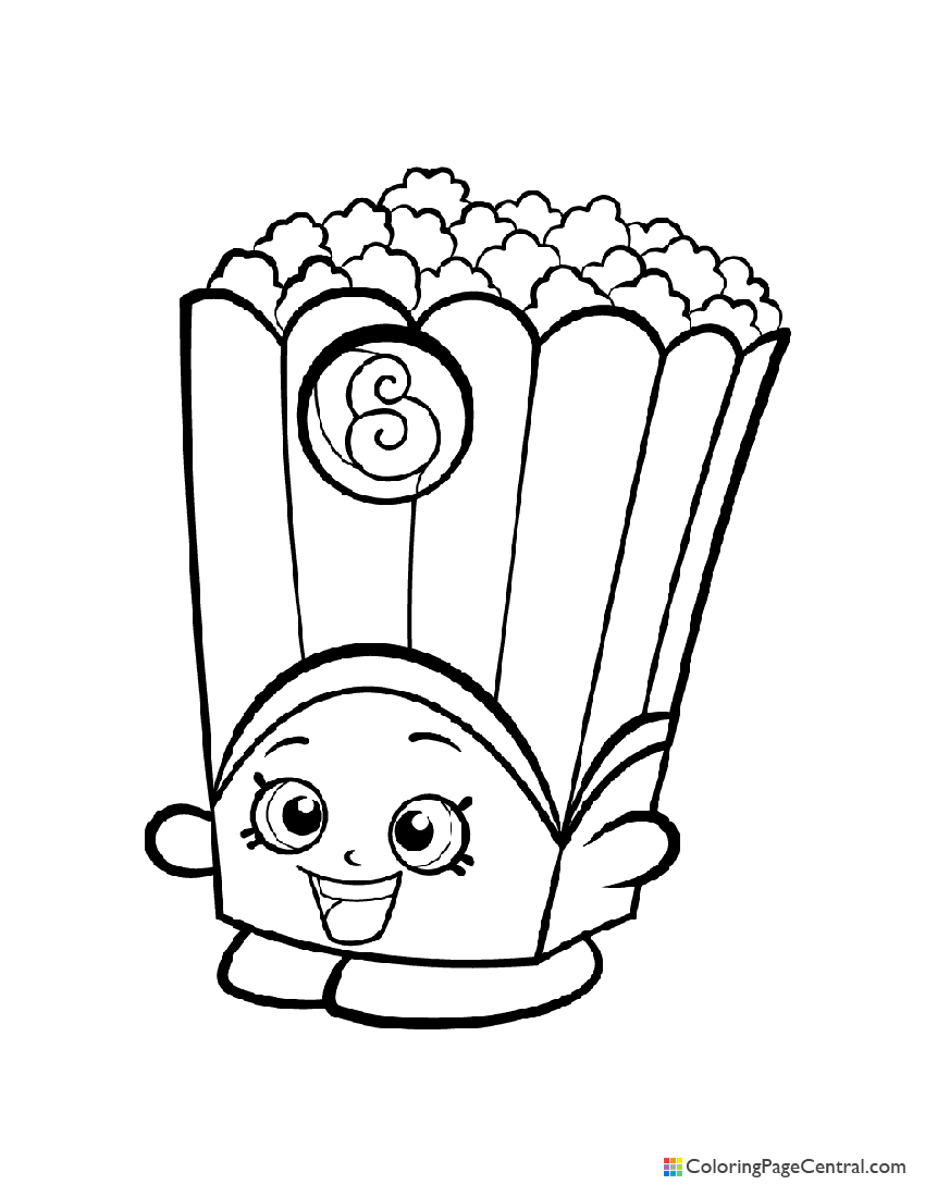 Shopkin - Poppy Corn Coloring Page | Coloring Page Central
