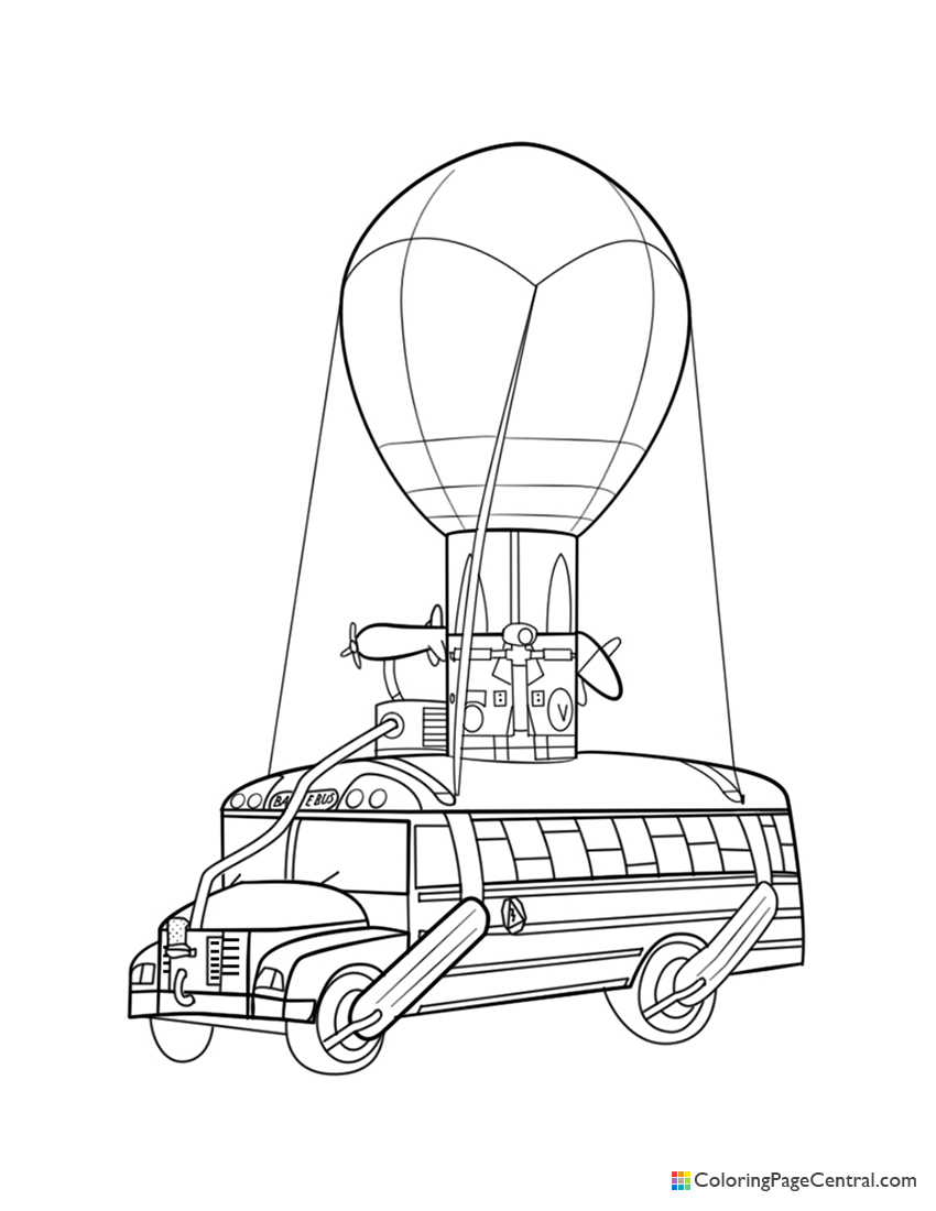 Fortnite - Battle Bus Coloring Page | Coloring Page Central